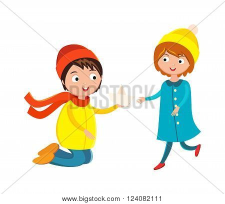 Girl and boy with flower cartoon character boy and girl fun person. Boy and girl couple friends. Little boy flower and girl cute children waving hand cartoon character vector.