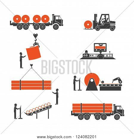 On the image is presented icons metallurgy production of pipes