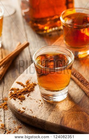 Cinnamon Whiskey Bourbon in a Shot Glass Ready to Drink