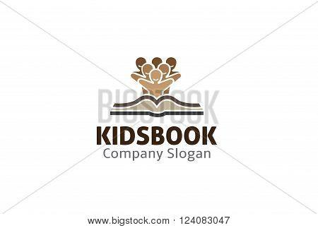 Kids Book Creative And Symbolic Logo Design Illustration