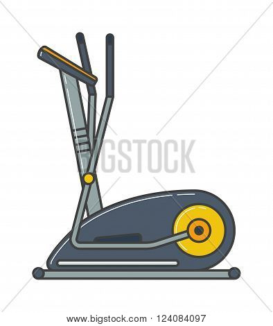 Stationary training exercise bike healthy lifestyle equipment and exercise bike sport. Exercise bike training workout machine. Stationary exercise bike sport gym machine health activity vector.