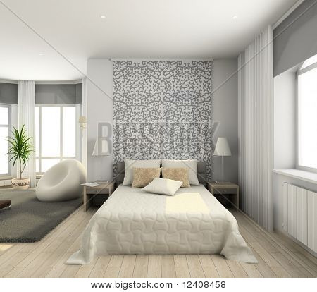 interior of modern bedroom. 3D render