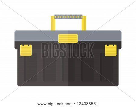 Tool box work hammer repair and tool wrench steel box. Tool box handle service and industry carpentry tool box. Instrument container chrome. Toolbox with instruments construction work equipment vector
