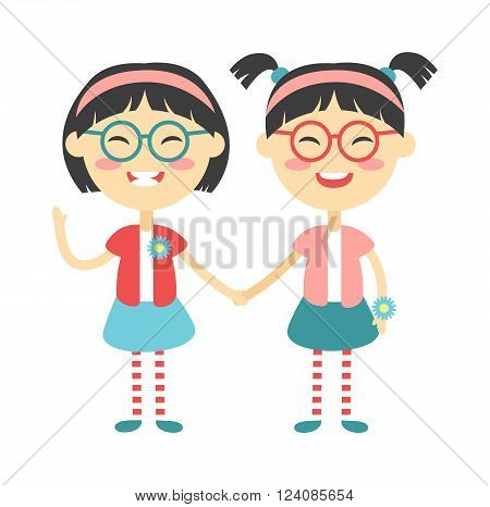 Twins kids holding hands and cute twins kids together. Twins happy kids holding hands boy and girl vector illustration. Twins brother and sister vector illustration