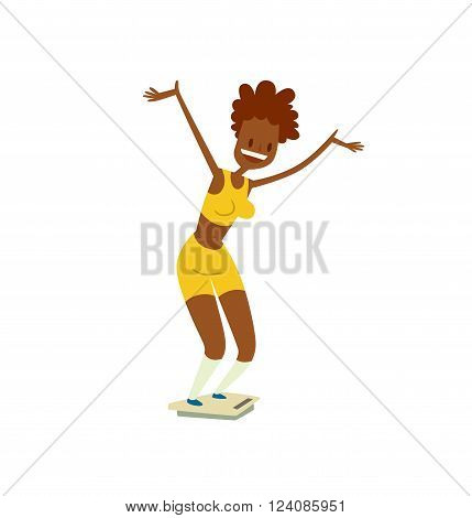 Girl on scales figure lifestyle care and pretty girl on scales. Girl on scales success fit measurement. Adult attractive shape fitness woman. Beautiful slim girl on scales fitness healthy body vector.