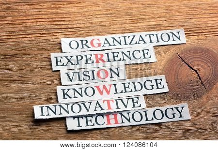 growth acronym in business concept, words on cut paper on wood
