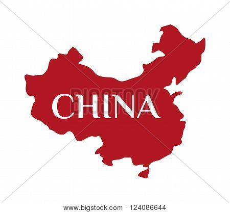 Continent country geography china map and continent travel china map. Continent cartography asia symbol china map, continent graphic world border republic. High detailed red vector China map.