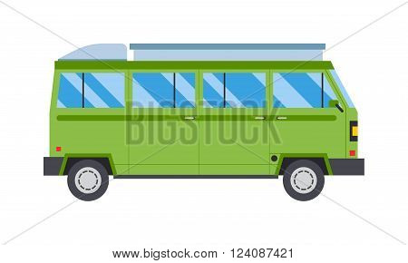 Green bus travel car and tourism vehicle green bus. Trip symbol green bus and passenger green bus. Business vacation vintage green bus flat. Vector illustration with green bus road travel transport.