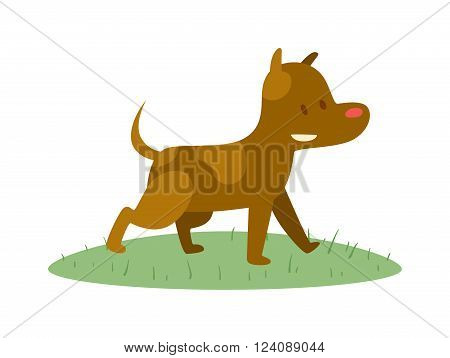 Cartoon cute dog happy and funny cartoon cute little dog. Cartoon cute dog domestic breed cheerful puppy. Cartoon cute dog comic sitting friend. Cute cartoon puppy dog animal pet character vector.