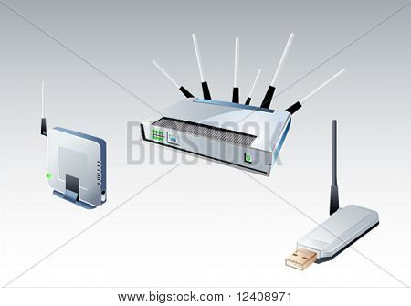 vector illustration of the different wi-fi devices