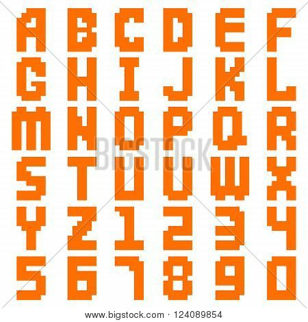 Pixel alphabet digital type text symbol and pixel modern color geometric alphabet. Pixel alphabet decoration typography. Alphabet abstract pixel art all letters and number design vector illustration.