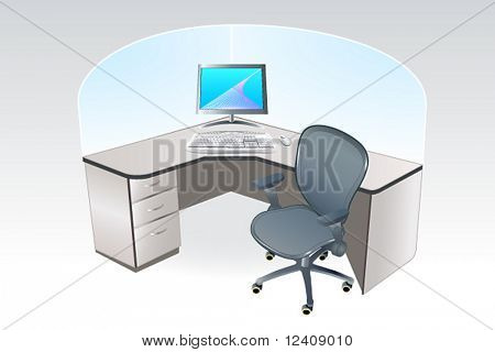 vector illustration of the typical working place cubicle