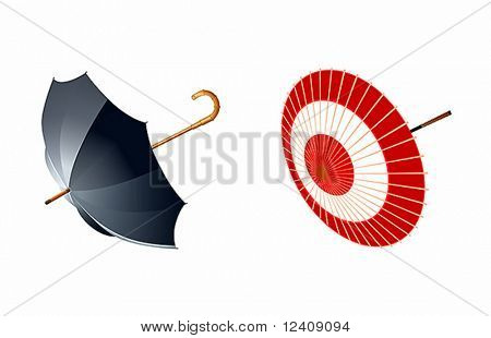 vector illustration of eastern and western type of umbrellas