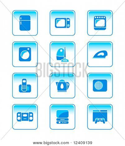 modern home electronics vector icon-set in blue