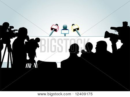 vector illustration of media people ready for press conference (an each person is on the separate layer).