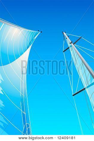 sailing ship sails, masts and gunter at clear blue sky