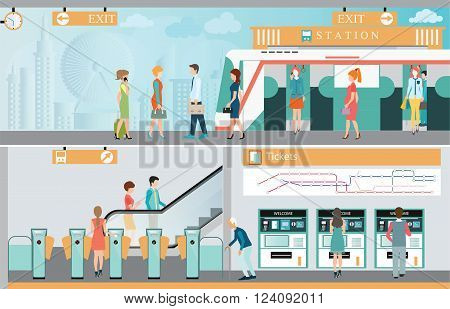 Subway train station platform with people traveling Train ticket vending machines Railway Map Entrance of railway station transportation vector illustration.