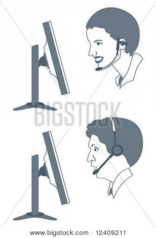 vector illustration of female and male call-center operators at work