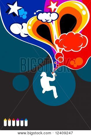 vector boy paint abstract graffiti composition in six colors