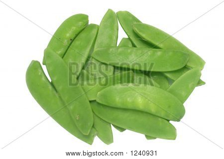 Green Peas (Mangetout), Isolated On A White Background.