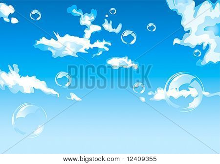 Abstract vector blue sky with clouds and bubbles