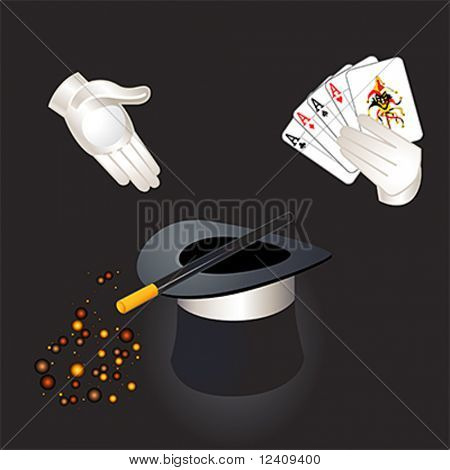 Magician hands with aces and joker, top hat, magic wand and magic dust