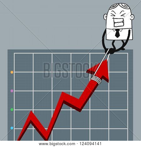 Businessman pull up the red graph, business growth