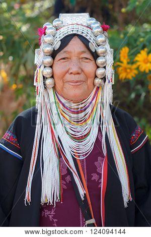 CHIANG RAI, THAILAND - November 14, 2015 : Tribal traditions Festival Mexican Sunflower Blossom at Ban Hua Mae Kham, Mae Fah Luang, in mae salong mountain, Chiang Rai, Thailand 14-15 November 2558.