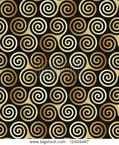 Seamless triple celtic spiral pattern in trance colors.