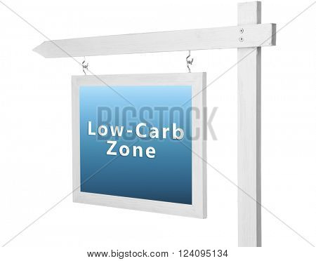 Wooden frame with text Low-Carb Zone isolated on white