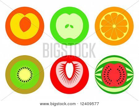Apple, peach, orange, kiwi, strawberry and watermelon in 2 (or 3)-colored symbols