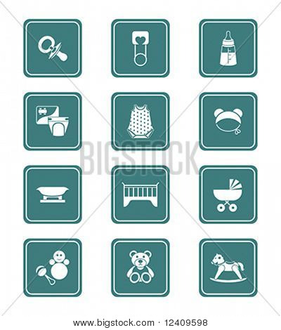 The newborn and first years babies objects icon set.