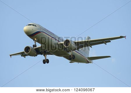 ST. PETERSBURG, RUSSIA - JULY 24, 2015: Airbus A320-214 (EI-EYS) of airline