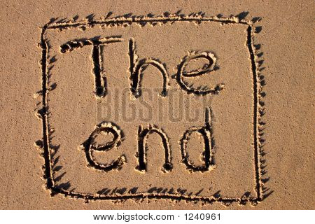 The End, Written On A Beach.  Good For A Holiday Film Ending.