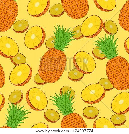 Pineapple. Seamless background. Vector illustration. Pineapple slices.