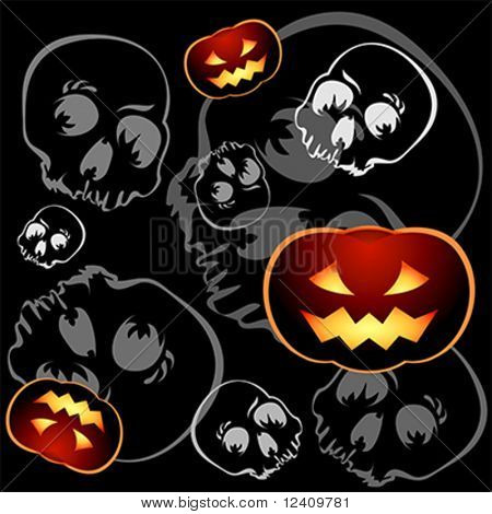 Pumkins and skulls seamless pattern over black background
