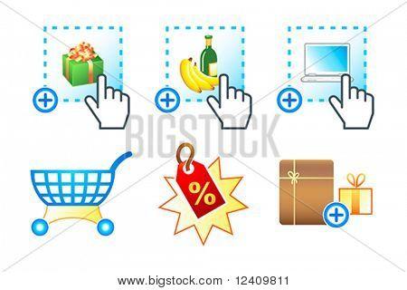 Icono colorido con objetos de mercado electrónico e-commerce, e-shopping
