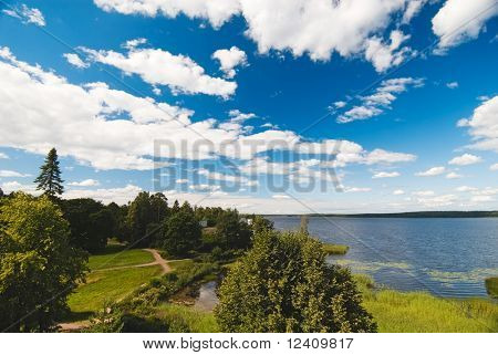 Panoramic view over Monrepos Park, Vyborg, Russia. There are Shrine of Neptune and Tea Pavilion.
