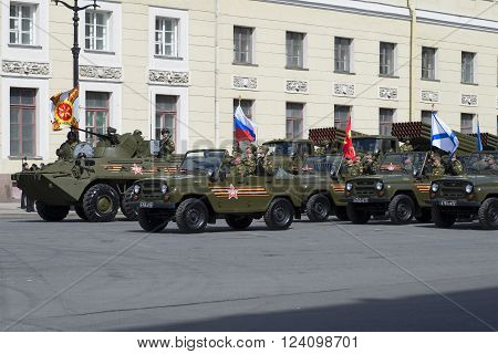 ST. PETERSBURG, RUSSIA - MAY 05, 2015: A convoy of military vehicles before the rehearsal of parade in honor of Victory day
