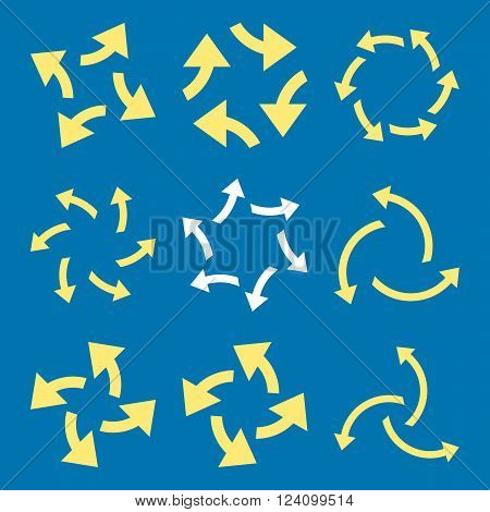 Centrifugal Arrows vector icon set. Collection style is bicolor yellow and white flat symbols on a blue background. Centrifugal Arrows icons.