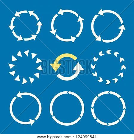 Rotation Direction vector icon set. Collection style is bicolor yellow and white flat symbols on a blue background. Rotation Direction icons.
