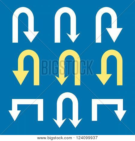 Turn Back Arrows vector icon set. Collection style is bicolor yellow and white flat symbols on a blue background. Turn Back Arrows icons.
