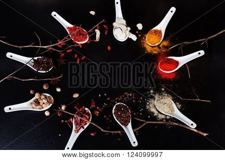 space background spices spices ginger onion turmeric curry chilli sauce products ingredients turmeric black top food garlic, coriander, star anise