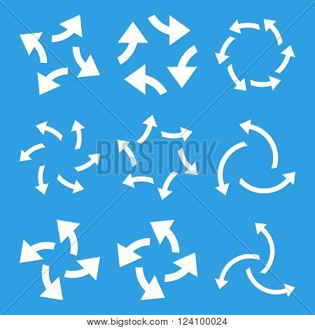 Centrifugal Arrows vector icon set. Collection style is white flat symbols on a blue background. Centrifugal Arrows icons.