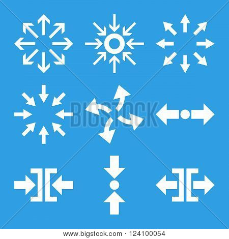 Compress and Explode Arrows vector icon set. Collection style is white flat symbols on a blue background. Compress And Explode Arrows icons.