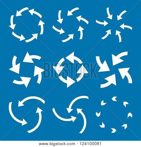 Cyclone Arrows vector icon set. Collection style is white flat symbols on a blue background. Cyclone Arrows icons.