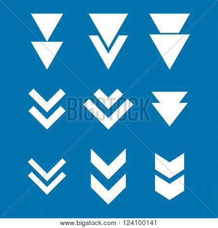 Down Direction vector icon set. Collection style is white flat symbols on a blue background. Down Direction icons.