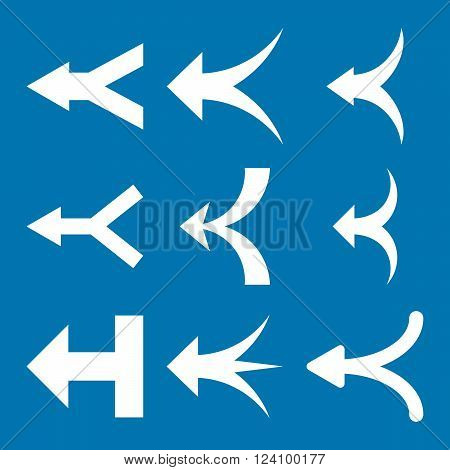 Join Arrows Left vector icon set. Collection style is white flat symbols on a blue background. Join Arrows Left icons.