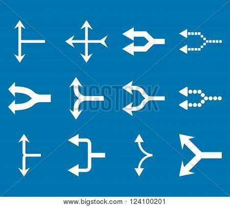 Junction Arrows Left vector icon set. Collection style is white flat symbols on a blue background. Junction Arrows Left icons.