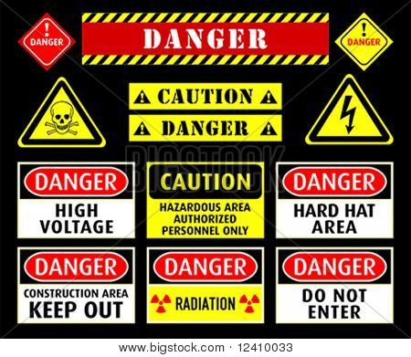 Set of typical danger and caution warning symbols